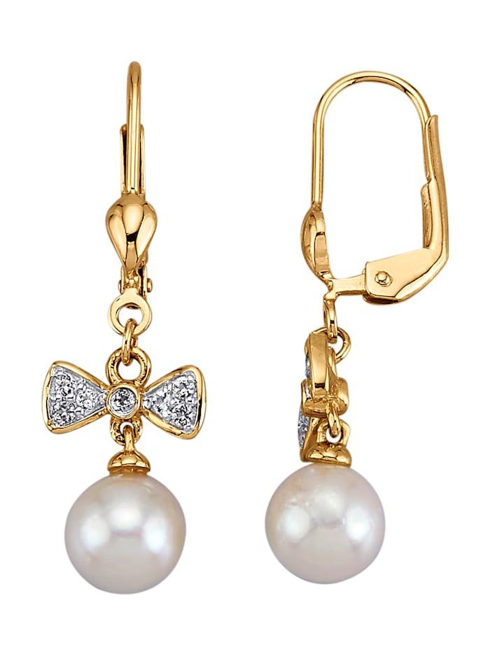 Amara Perle Ohrringe mit weißen Akoya-Zuchtperlen, Weiß