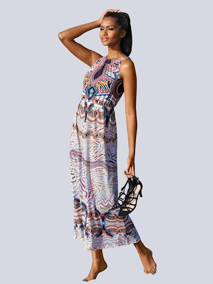 Alba Moda Strandkleid mit ausdruckstarkem Druck, Weiß/Multicolor