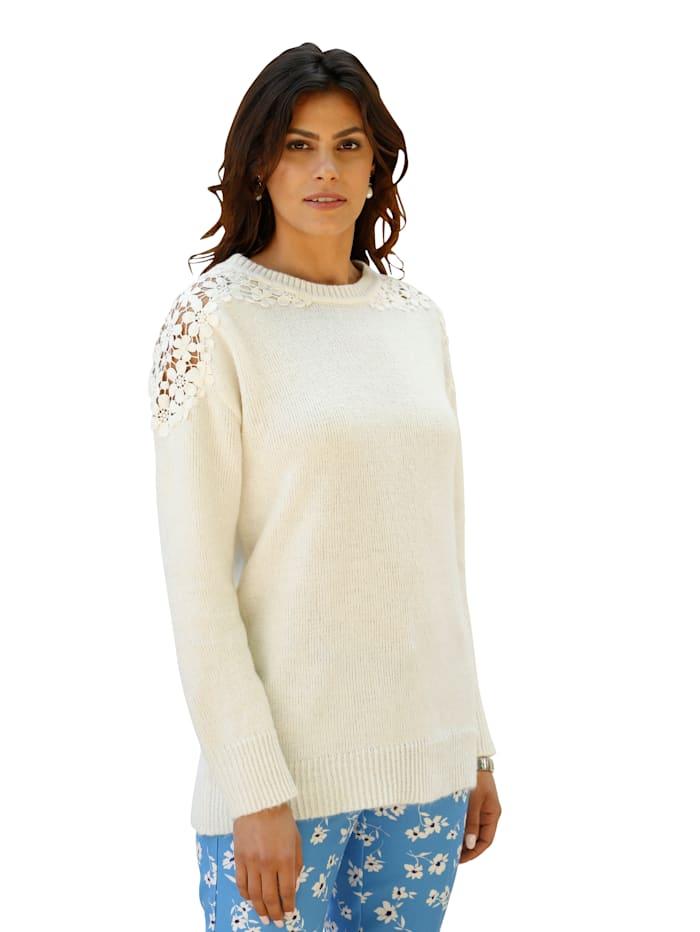 AMY VERMONT Pullover mit Spitzen-Detail an der Schulter, Off-white