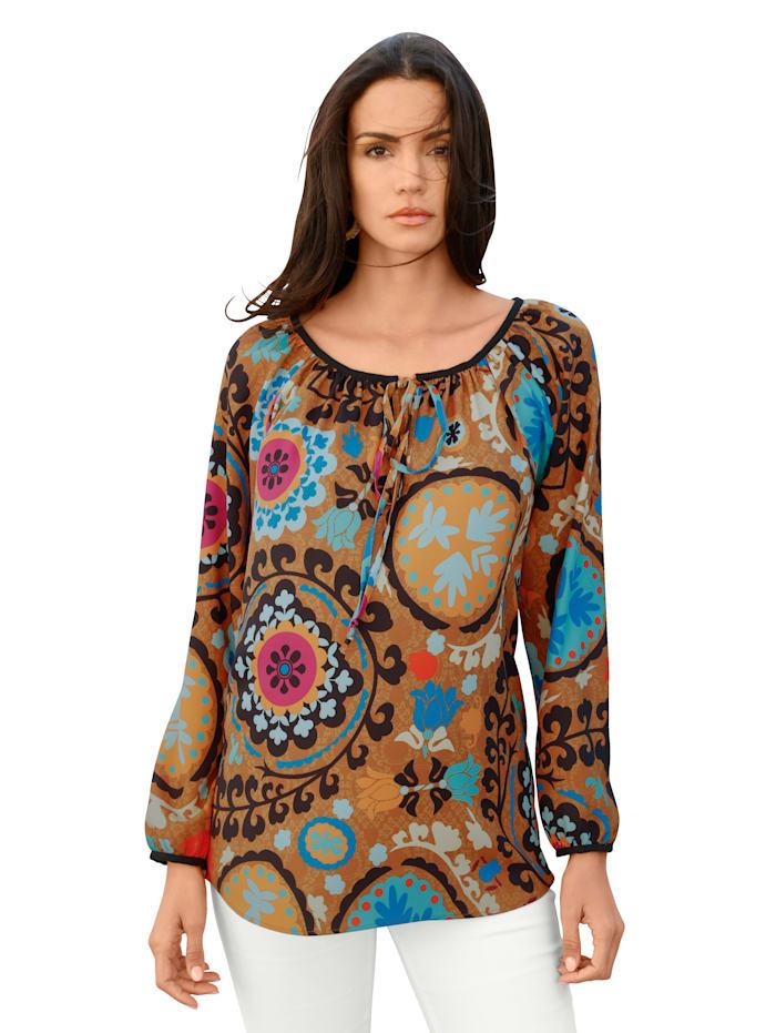 AMY VERMONT Bluse mit grafischem Muster allover, Senfgelb/Orange/Blau
