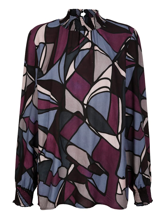 AMY VERMONT Bluse mit grafischem Muster, Lila/Rosé/Blau