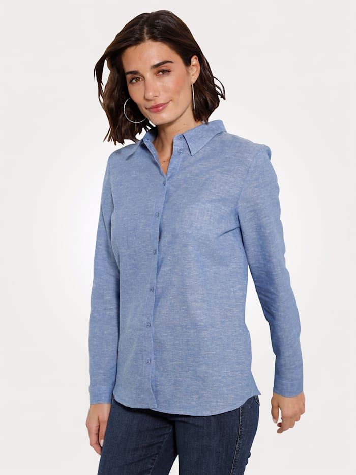 MONA Bluse aus einer Leinen-Baumwoll Qualität, Hellblau