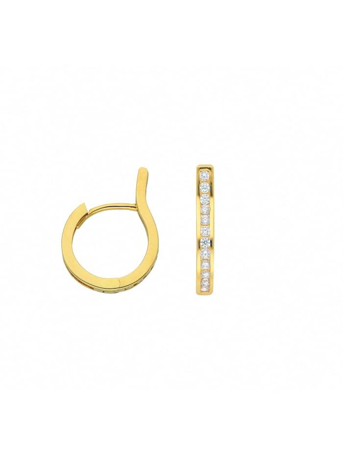1001 Diamonds 1001 Diamonds Damen Goldschmuck 585 Gold Ohrringe / Creolen mit Zirkonia, gold