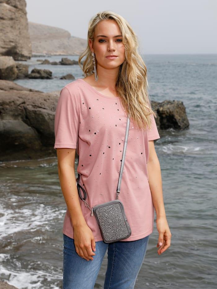 MIAMODA Shirt mit Nieten, Rosé