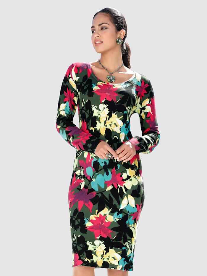 AMY VERMONT Stickad klänning med färgglatt mönster, Svart/Flerfärgad