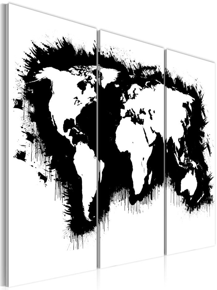 artgeist Wandbild Monochrome Weltkarte - Triptychon, schwarz-weiß