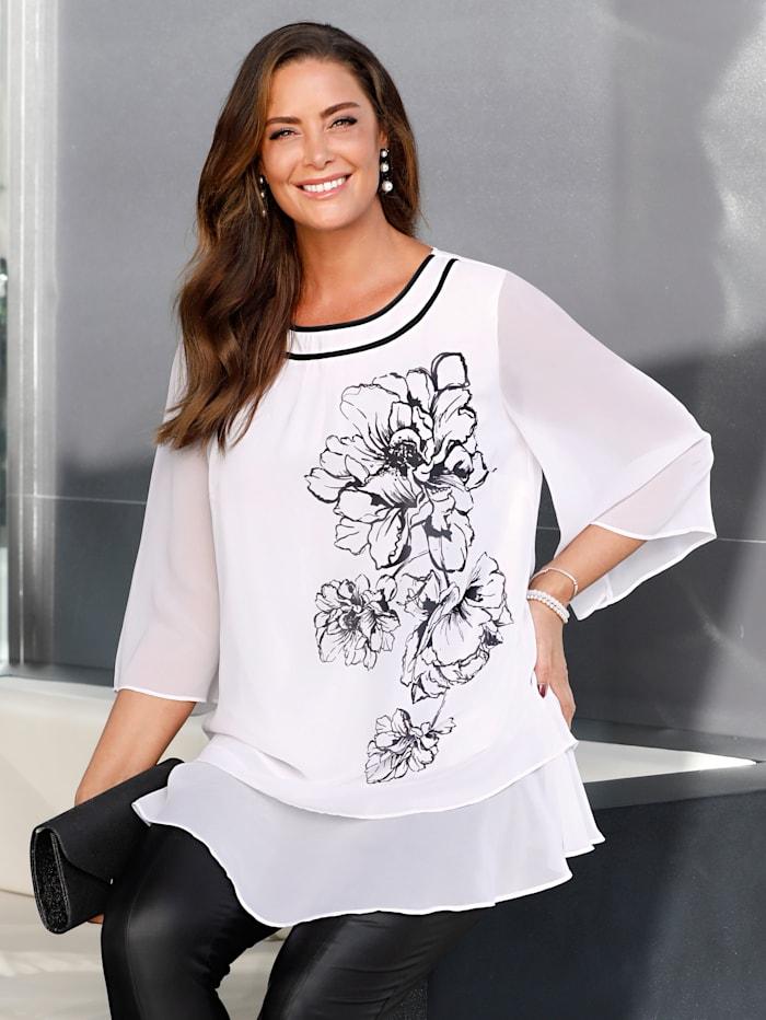 MIAMODA Tunika mit platziertem Blumenmotiv, Weiß/Schwarz