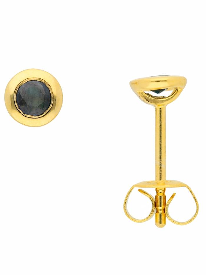 1001 Diamonds 1001 Diamonds Damen Goldschmuck 585 Gold Ohrringe / Ohrstecker mit Safir, blau