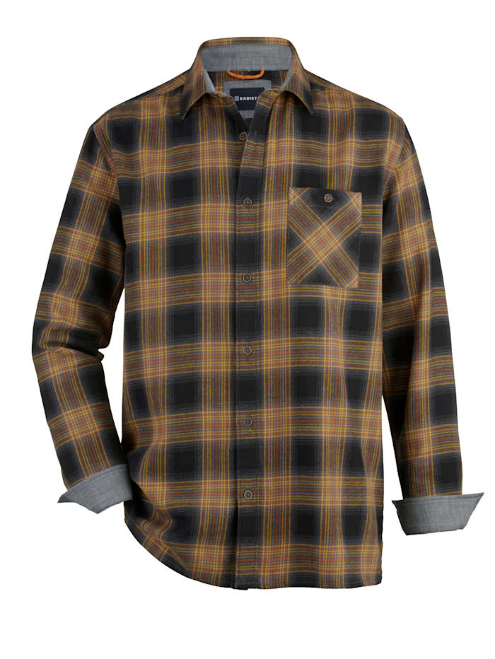 BABISTA Flanellhemd aus reiner Baumwolle, Marineblau/Gelb