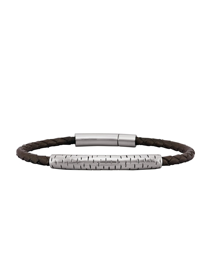 Leder-Armband mit Edelstahl, Braun