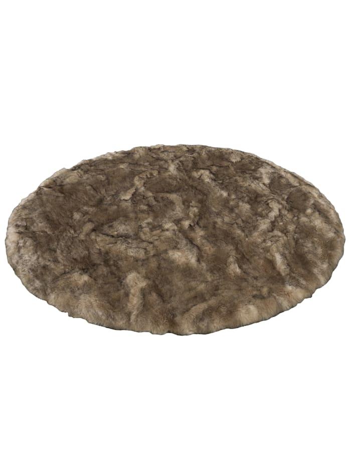 Pergamon Luxus Super Soft Fellteppich Aspen Rund Meliert, Braun