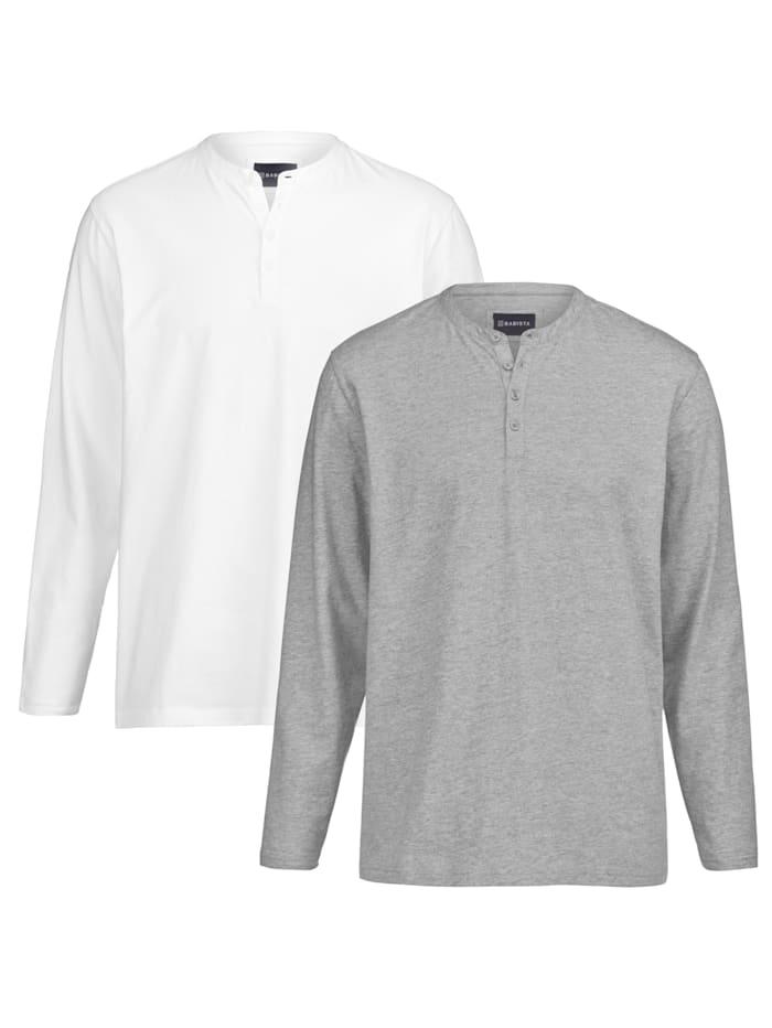 BABISTA T-shirt col tunisien Par lot de 2, Blanc/Gris