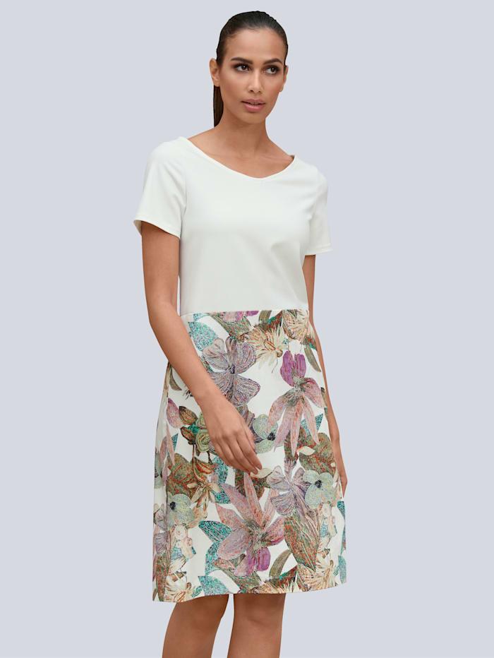 Alba Moda Kleid mit Dschungel-Print im Rockteil, Off-white/Grün
