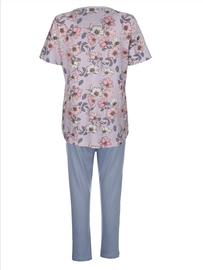 Schlafanzug mit kontrastfarbener Brusttasche