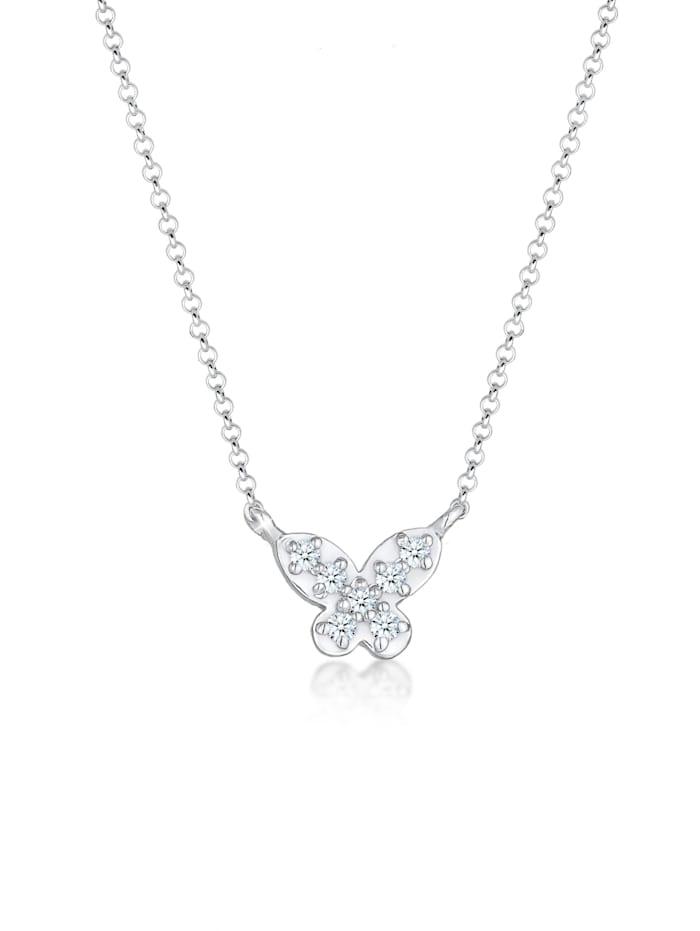 DIAMORE Halskette Schmetterling Diamanten (0.105 Ct) 925 Silber, Silber