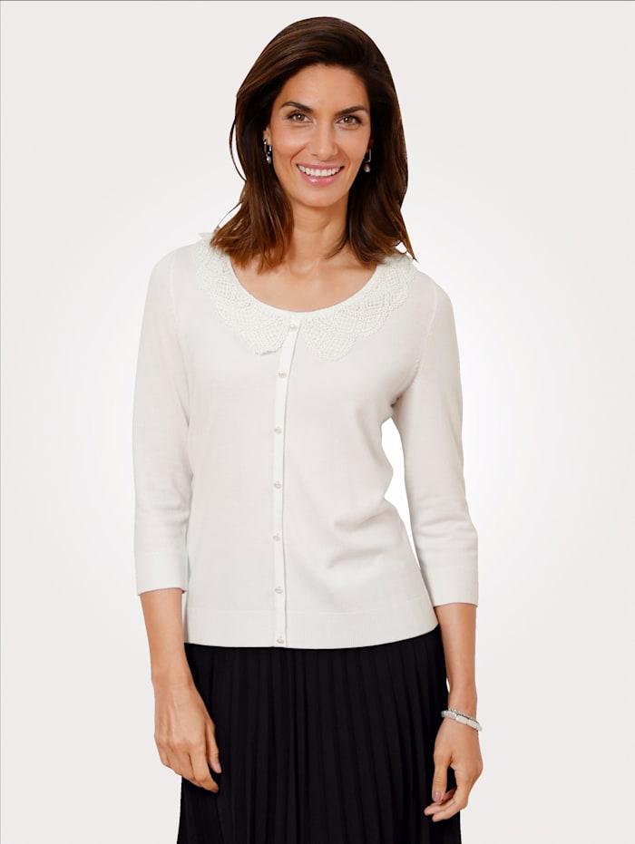 MONA Pullover mit modischen Bubikragen, Weiß