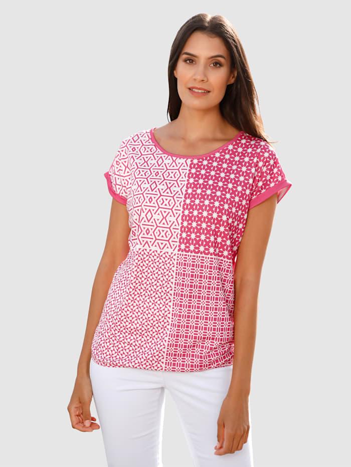Laura Kent Shirt mit grafischem Druck im Vorderteil, Cyclam/Weiß