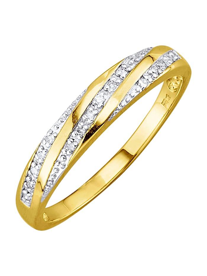 Damesring met diamanten, Geelgoudkleur