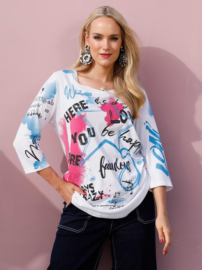 MIAMODA Shirt met print voor, Wit