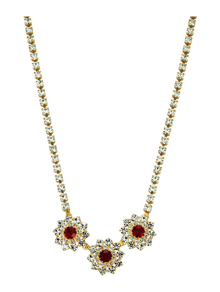 Golden Style Collier mit Kristallen, Rot