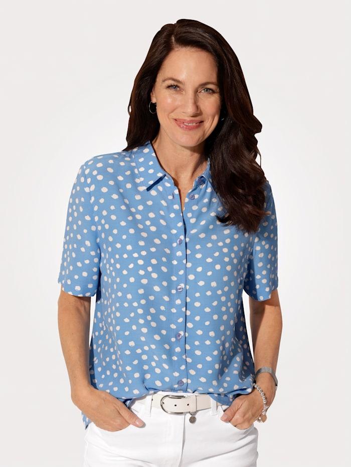 MONA Bluse mit durchgängiger Knopfleiste, Hellblau/Weiß