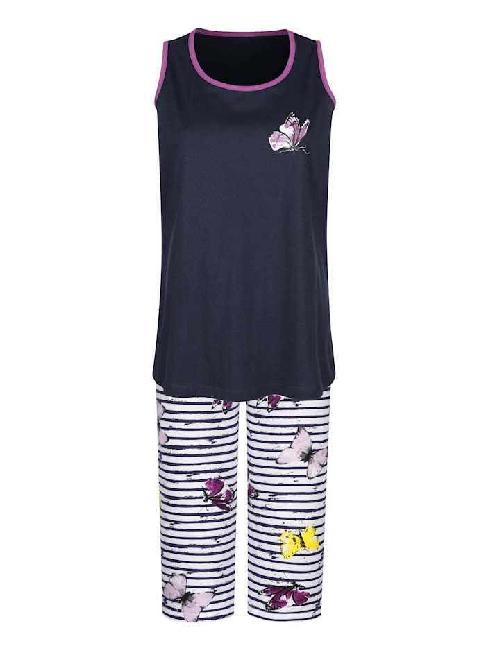 Pyjama's per 2 stuks met ingeweven dwarsstrepen en leuke print