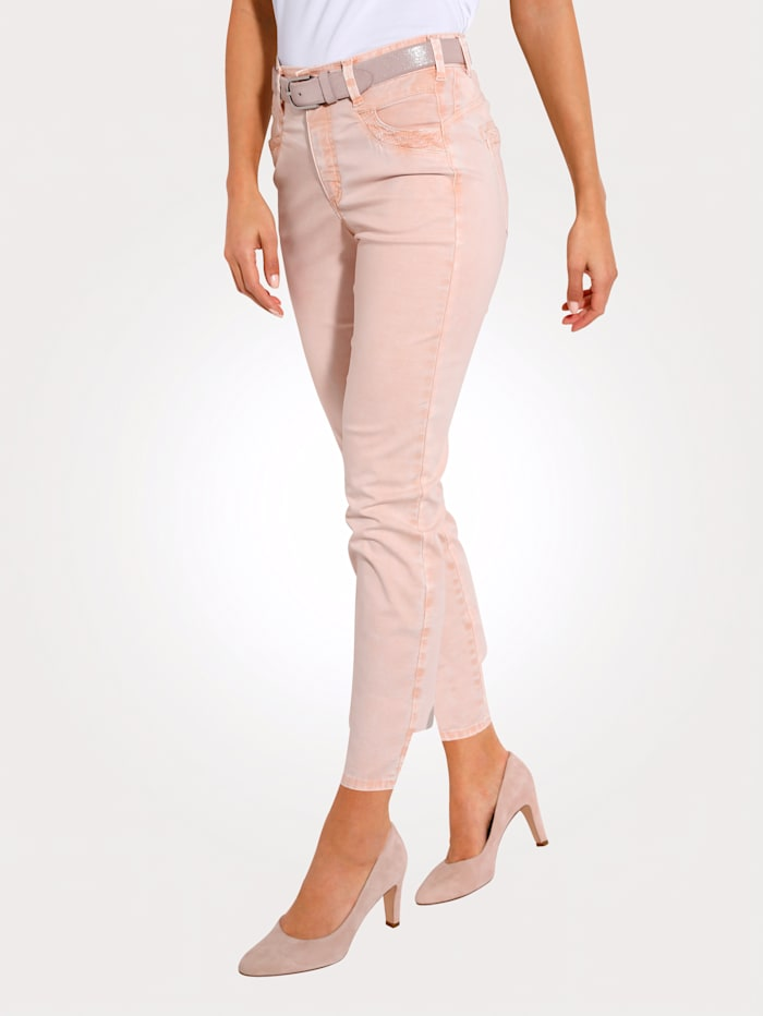 MONA Cropped trousers in a subtle washed finish, Salmon Pink