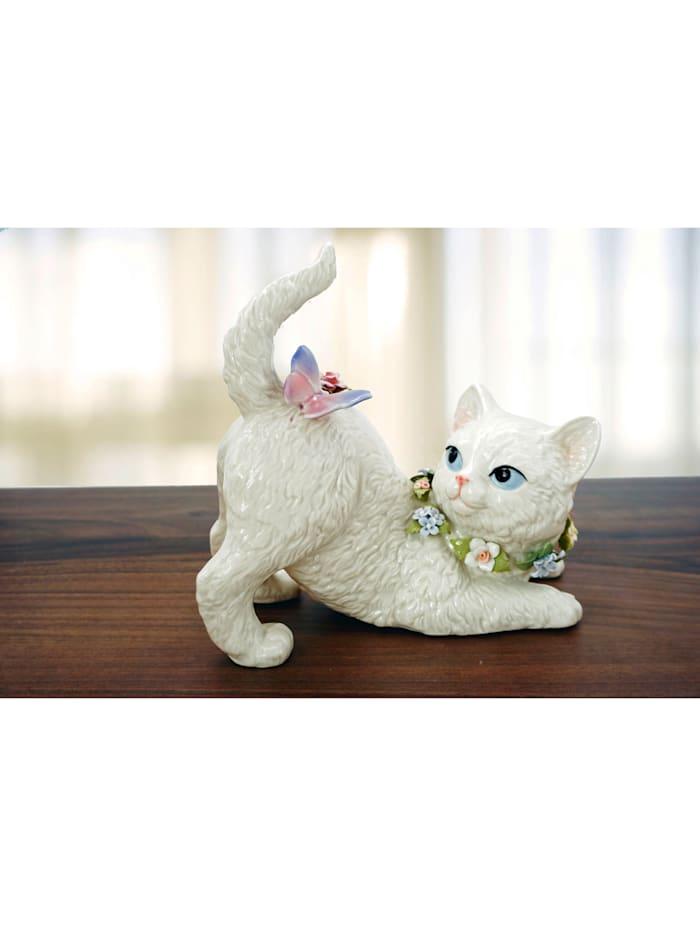 Hrací hodiny kočka, Bílá