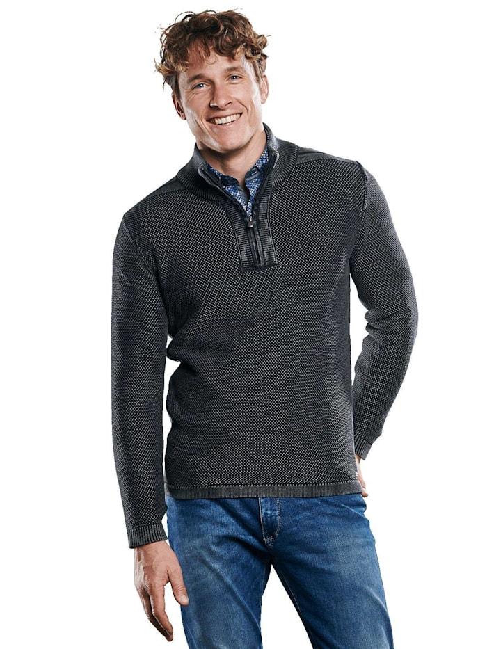 Engbers Pullover mit griffiger Reiskornstruktur, Schwarz