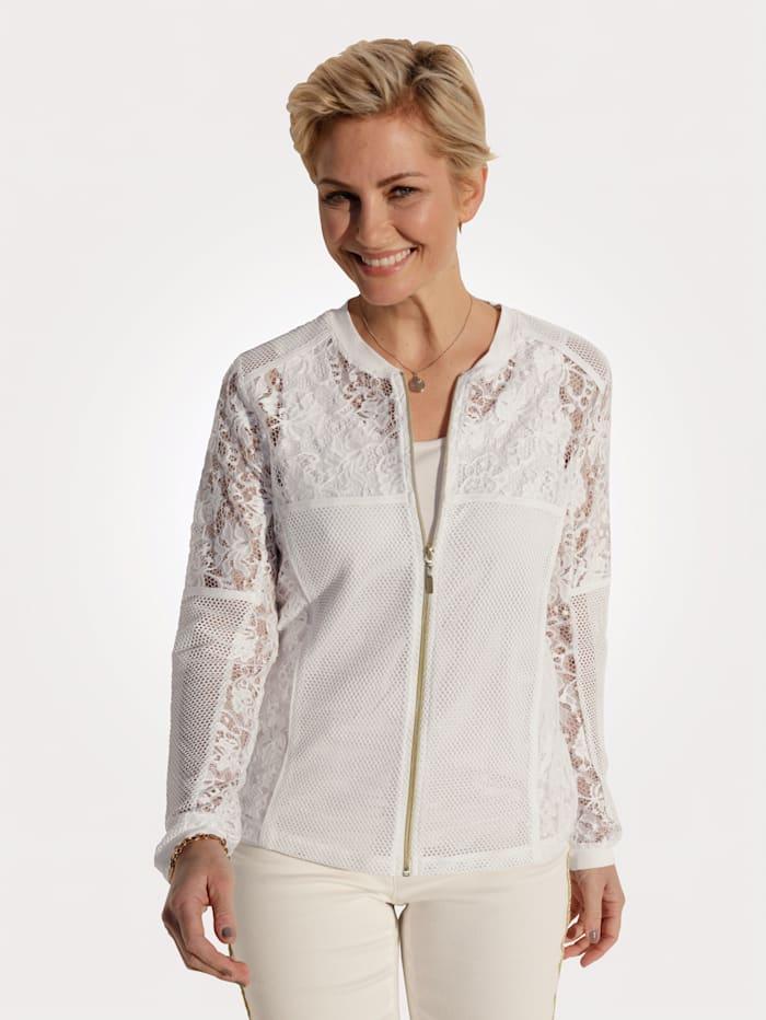 MONA Blusenjacke aus transparenter Spitze, Ecru