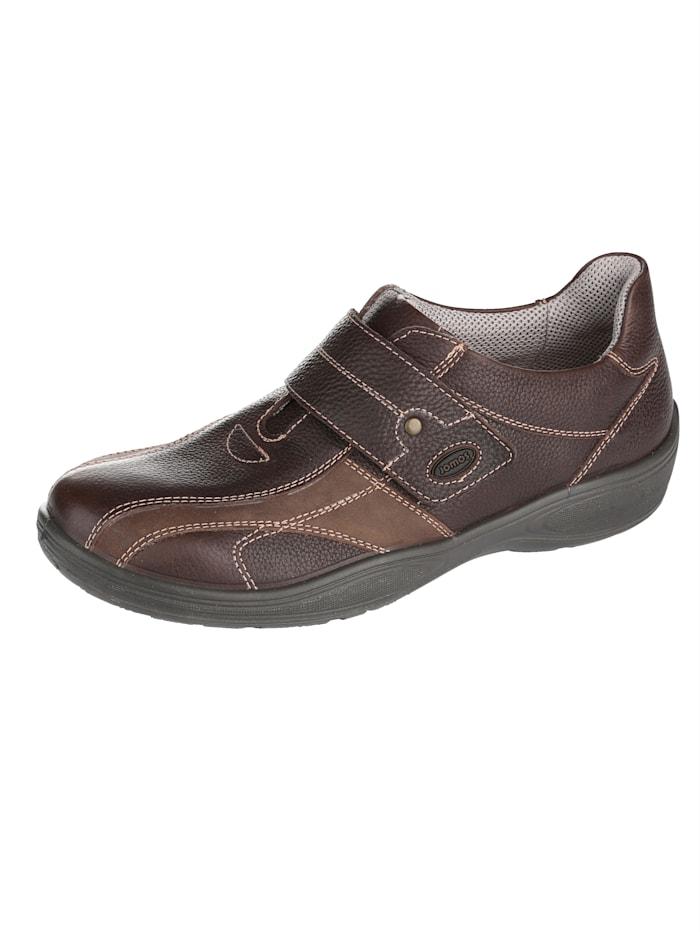 Jomos Slipper obuv s kontrastním ozdobným prošíváním, Tmavá hnědá