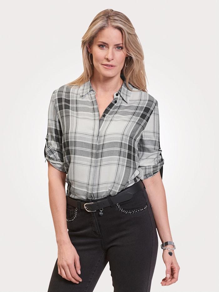 MONA Bluse aus reiner Baumwolle, Ecru/Schwarz/Grau