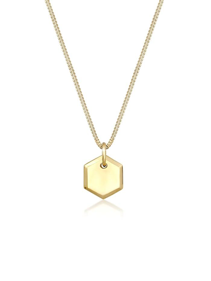 Elli Halskette Panzerkette Plättchen Hexagon Basic 925 Silber, Gold
