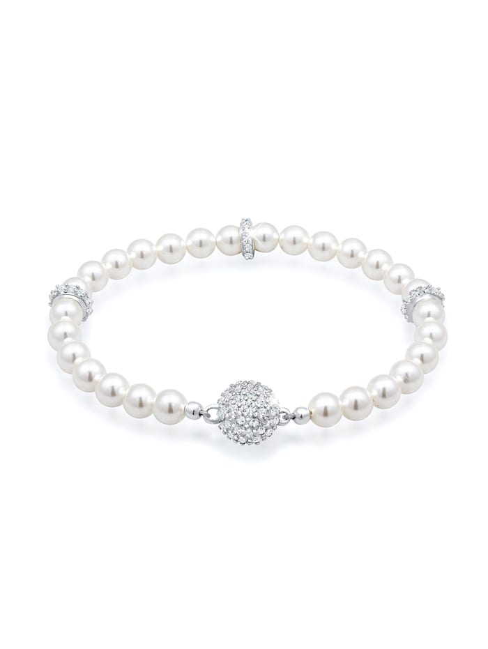 Elli Premium Armband Kugel Magnet Synthetische Perlen 925 Silber, Silber