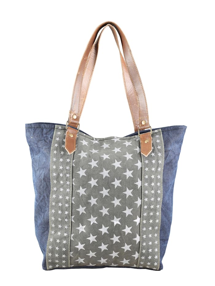 Collezione Alessandro Schultertasche Laetitia mit Sternen aus Jeansmaterial, jeans