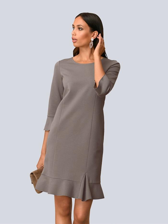 Alba Moda Kleid mit femininem Volant am Saum, Taupe