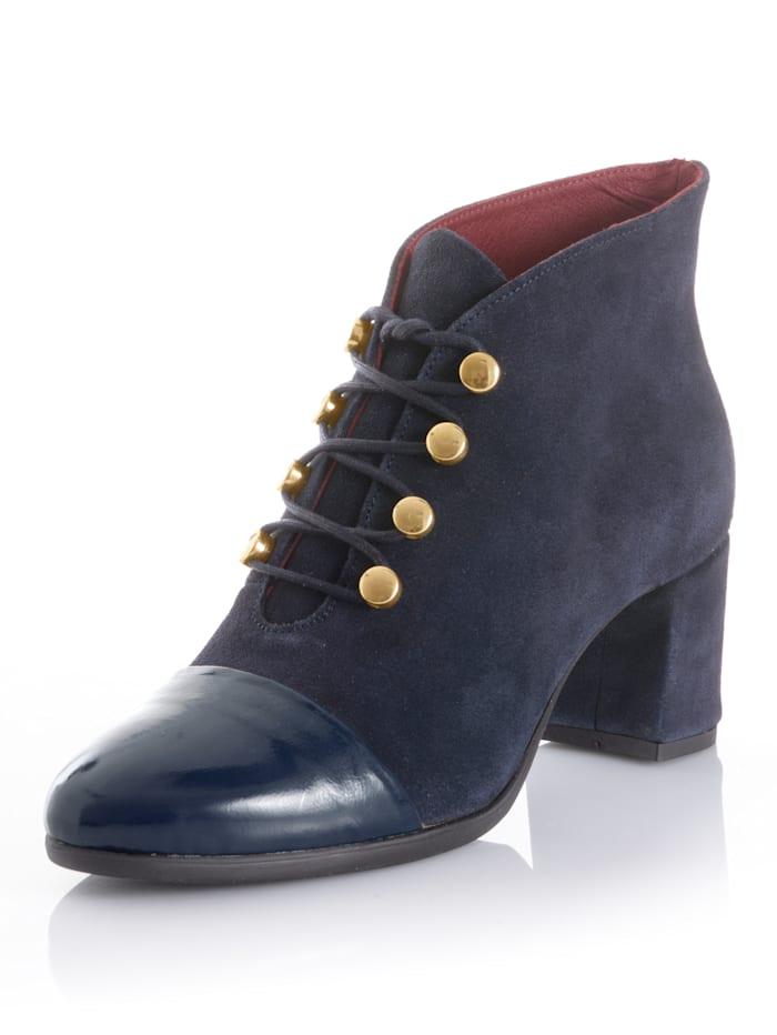 Alba Moda Stiefelette mit Lackspitze, Marineblau