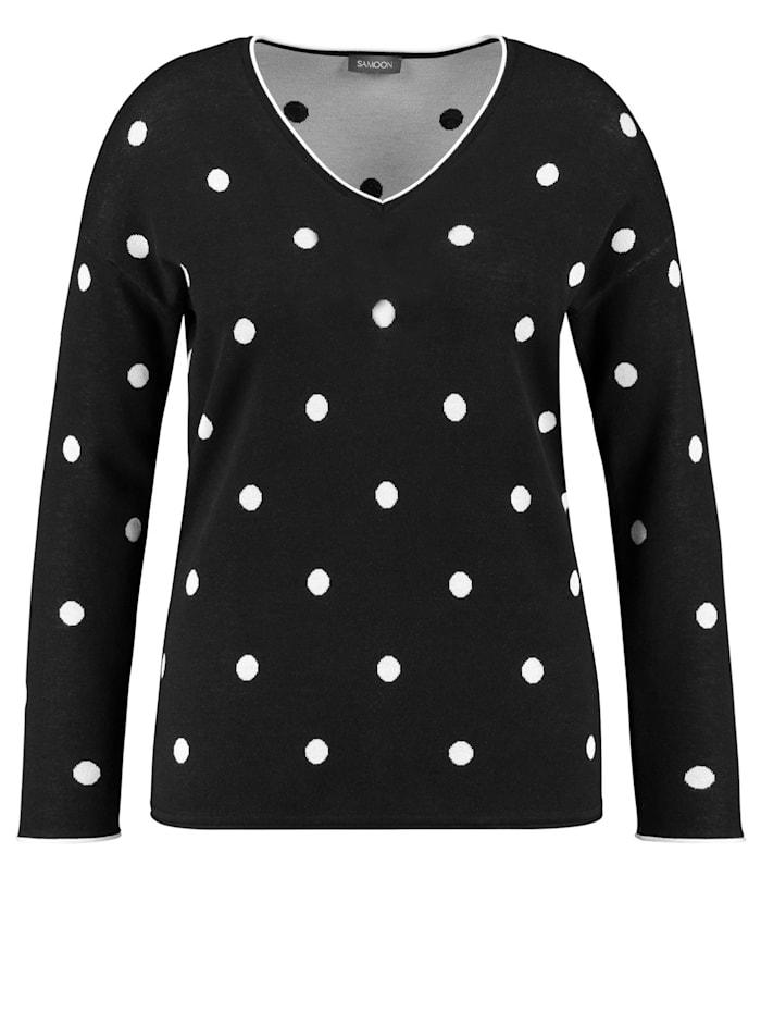 Samoon Pullover mit Dots, Black gemustert