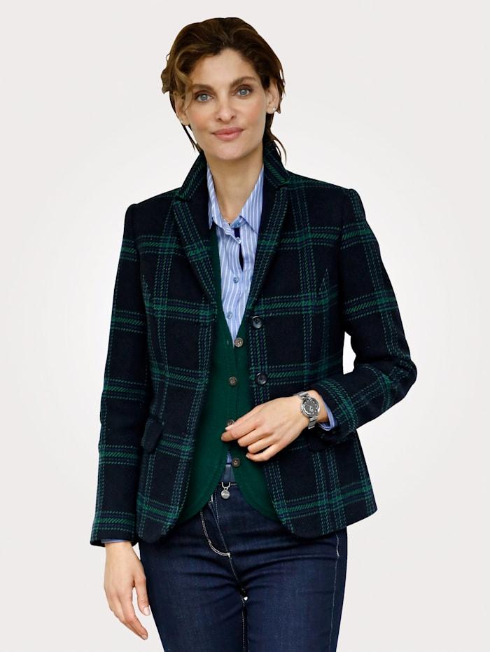 MONA Blazer aus reiner Wolle, Marineblau/Grün
