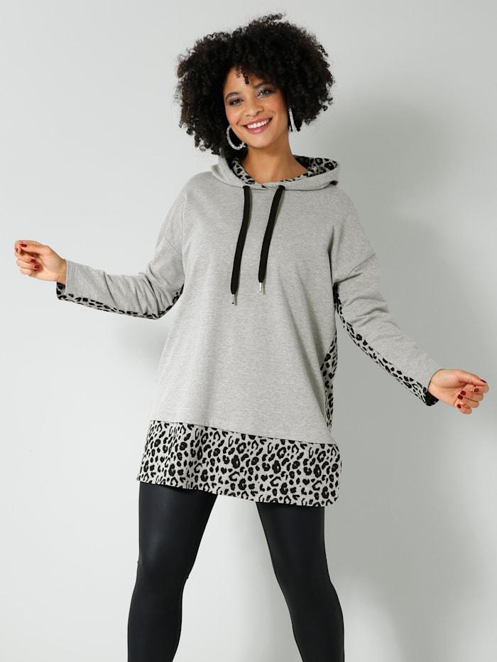 Angel of Style Sweatshirt in 2-in-1-look, Lichtgrijs/Zwart