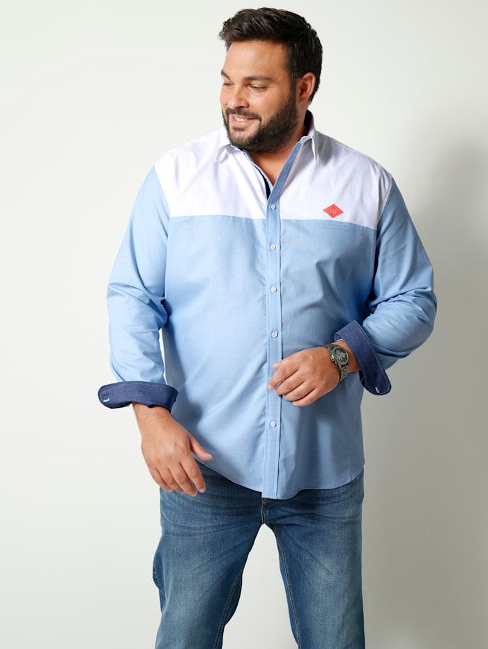 Men Plus Overhemd van zuiver katoen, Lichtblauw/Wit