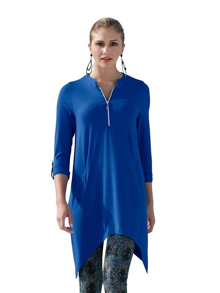 AMY VERMONT T-shirt à pointes avec glissière à l'encolure, Bleu roi