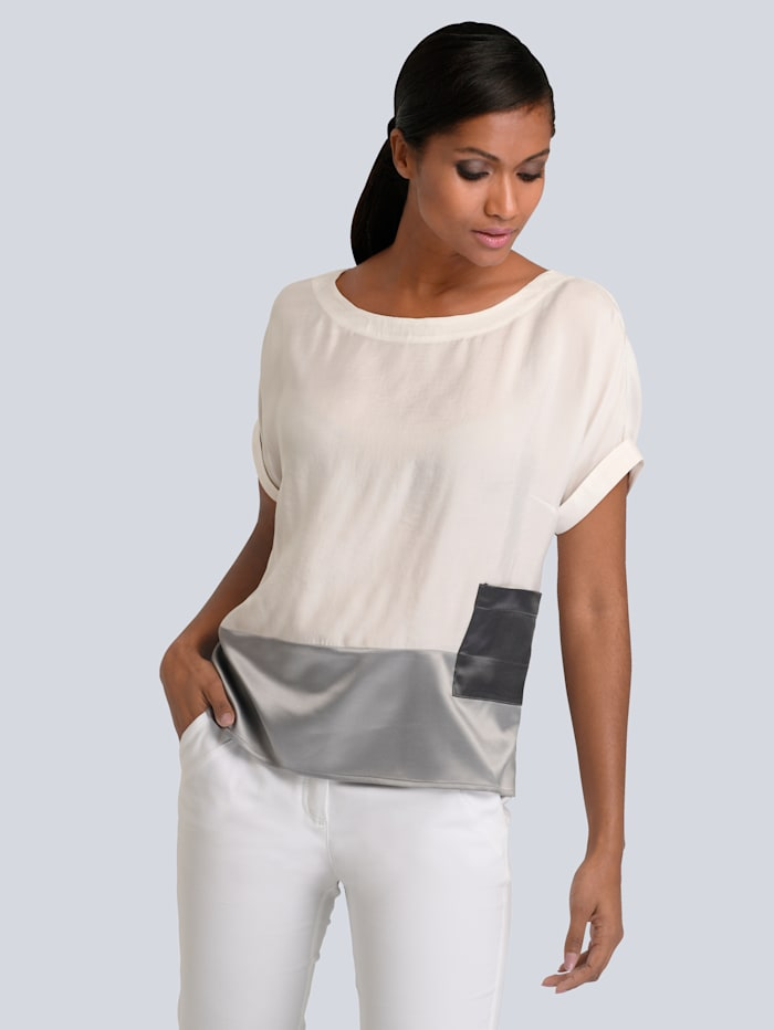 Alba Moda Bluse aus hochwertiger Ware, Weiß/Grau
