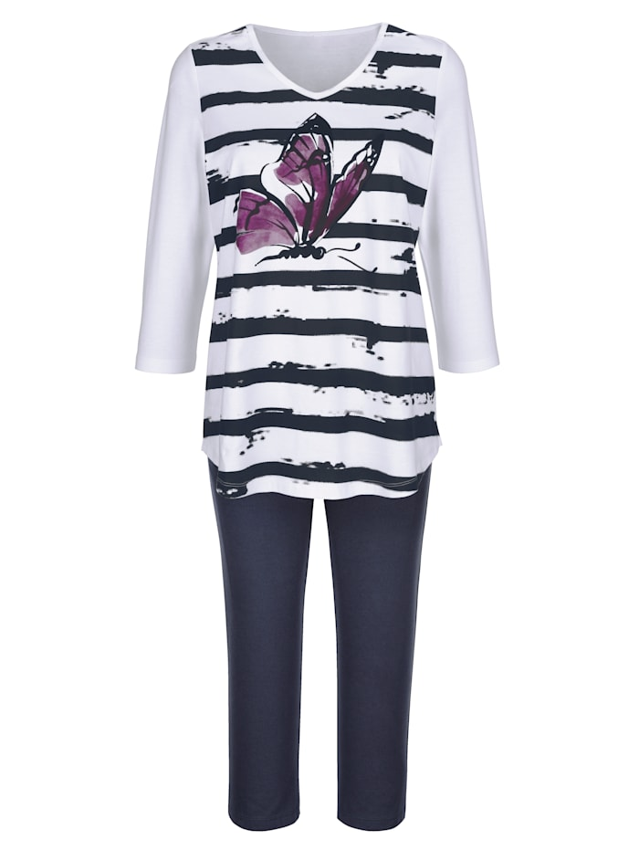 Blue Moon Schlafanzug mit garngefärbtem Ringeldessin, Weiß/Fuchsia/Marineblau