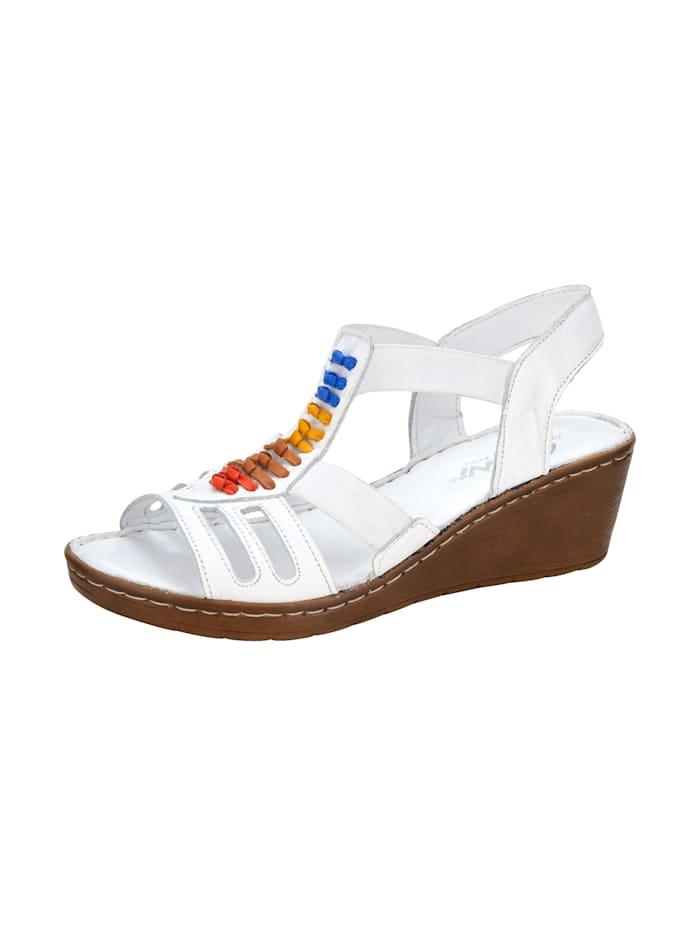 Gemini Keilsandale mit modischen, Lederbändern, Weiß