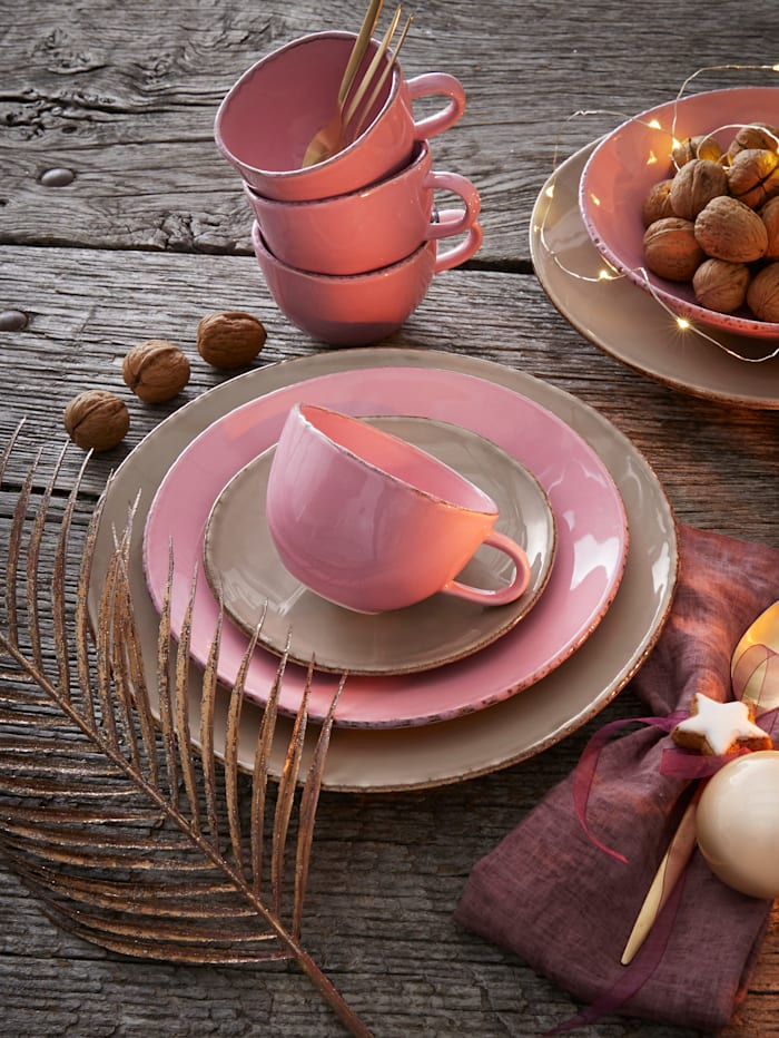 "Creatable Service de table grès ""Organic Ella"", pierre/rose"