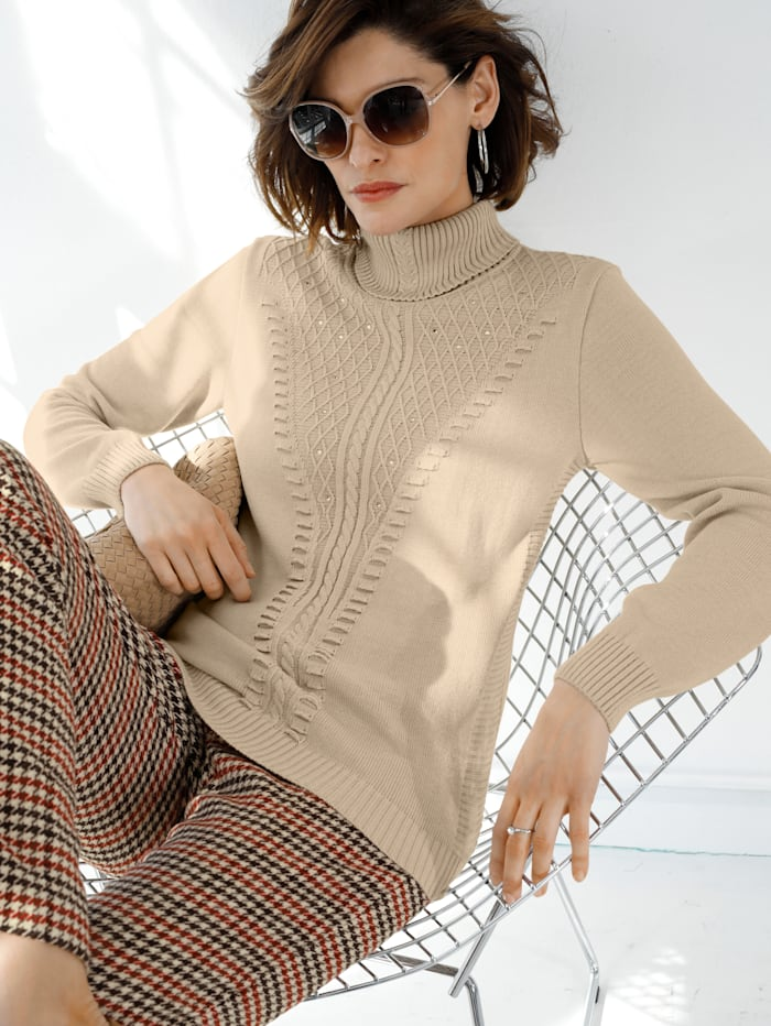 Polo neck jumper with decorative rhinestones