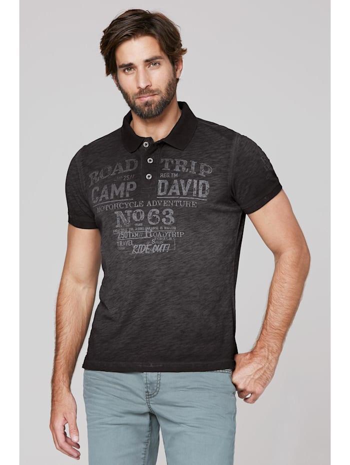 Camp David Poloshirt aus Flammgarn mit Used Prints, black