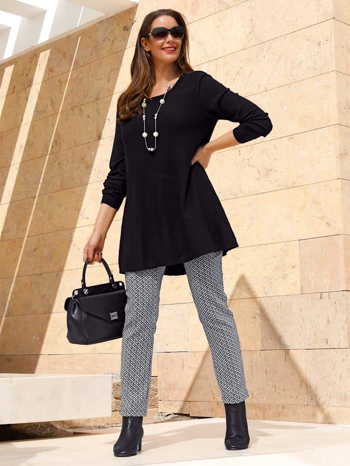 MIAMODA Pullover in leicht ausgestellter Form, Schwarz