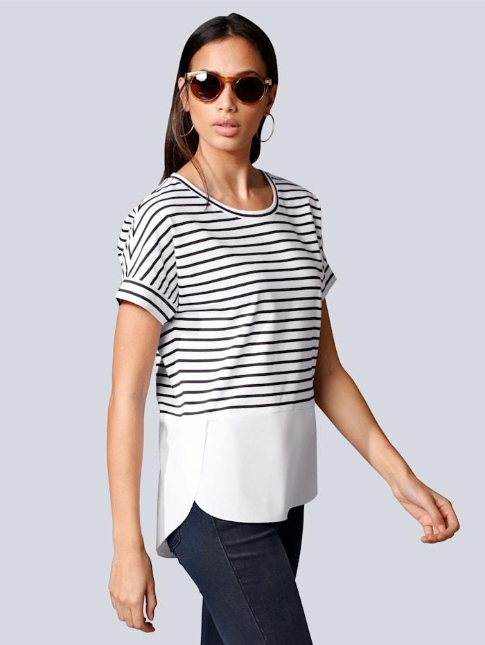 Alba Moda Shirt im Ringel-Dessin, Weiß/Marineblau